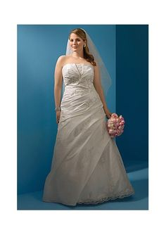 Semi-Cathedral Train Taffeta Strapless Plus Size Wedding Dress with Applique Bodice