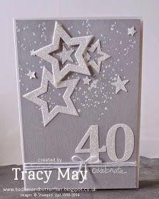stampin up dazzling diamond star 40th card