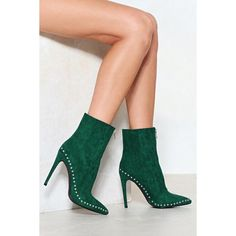 Nasty Gal Hard Work Suedes Off Stud Bootie (130 PEN) ❤ liked on Polyvore featuring shoes, boots, ankle booties, green, pointed toe booties, high heel stilettos, pointed toe bootie, suede booties and green suede booties