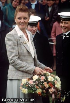 The Duchess of York 1987 The Duchess of York meets young sea cadets after receiving badges from bowlers, which she pinned in a neat row on her jacket lapel (one nearest to cadets) at an international bowls tournament during the Duke and Duchess of York's short visit to Jersey.