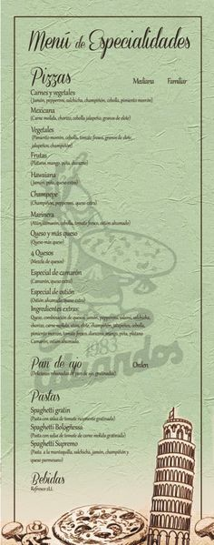 Menú de especialidades que disfrutarás en Eduardos Pizzas.