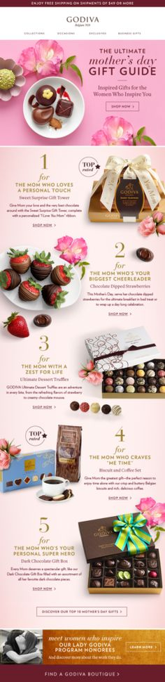 Godiva wants to sweeten Mother's Day by focusing on the value vs. the price of a gift. For more Mother's Day email design tips, visit: http://emaildesign.beefree.io/2016/04/mothers-day-email-marketing/