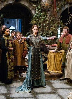 Eva Green in 'Camelot' (2011)  Note size of concrete hardscape for backyard.  Faux moss