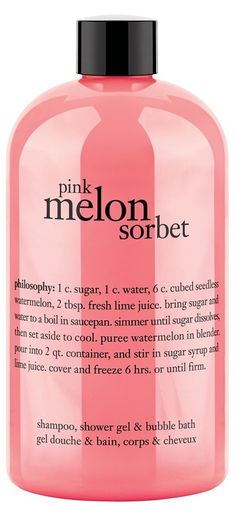 Pink melon sorbet shampoo, shower gel and bubble bath (all in one)! Bath time never smelled so good.