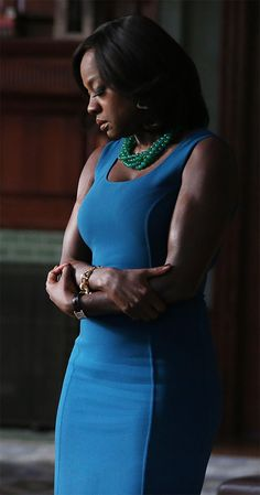 Annalise Keating wearing a Michael Kors teal sheath dress on How To Get Away With Murder.