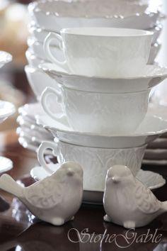 StoneGable: Let's Dish~ White Dishes! White Dish Set, Kitchen Facelift, Kitchen Nook, Kitchen Ware, Kitchen Utensils, White Cottage, Shabby Chic Kitchen, Dish Sets, Kitchen Collection