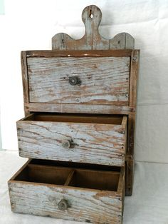 """19th C. Country Crafted Hanging Three-Drawer Cupboard-Lollipop Hanger Orig Paint, Pine,Dovetailed, 25""""h x10""""d x15"""" w.    Sold  Ebay   400.00"""