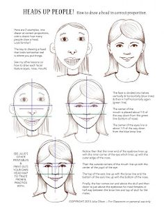 Julie Olson Books - Author/Illustrator: How to draw a face/head - Portraits & Self-Portrait Art Lesson Idea & Drawing Tips Drawing Projects, Drawing Lessons, Art Lessons, Drawing Tutorials, Drawing Tips, Drawing Drawing, Drawing Techniques, Painting Tutorials, Self Portrait Art
