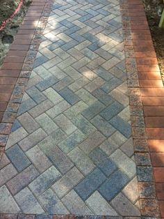 Brick Paver Walkway Close Up Architectural Landscape Design