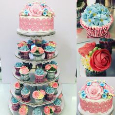 Spring wedding cake and cupckars