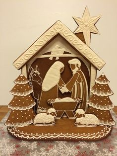 Make your own Gingerbread Nativity with this tutorial, includes pattern. Elaine's Sweet Life: Gingerbread Nativity {Tutorial} LOVE THIS Gingerbread House Parties, Christmas Gingerbread House, Christmas Nativity, Gingerbread Houses, Gingerbread Cookies, Gingerbread House Template, Christmas Goodies, Christmas Treats, Christmas Fun