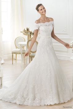 pronovias 2014 costura letour off shoulder scalloped wedding dress