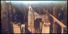 Endless City: High Level by Pete Amachree : ImaginaryArchitecture City Painting, Painting & Drawing, Dark And Twisted, Fantasy City, Walled City, Environment Concept Art, New City, Future City, Out Of This World