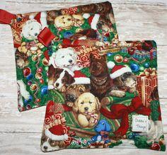 Christmas Potholder Dog Potholders Potholder Set by AddiesThings