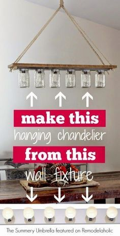 Remodelaholic Feature: Upcycle a Vanity Light Strip to a Hanging Pendant Light…