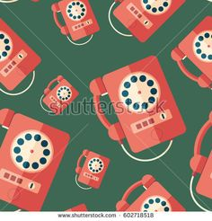 Red retro payphone flat icon seamless pattern. #retro #retropattern #vectorpattern #patterndesign #seamlesspattern