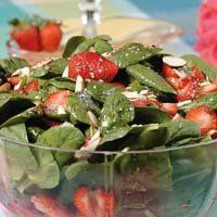 Strawberry Spinach salad with walnuts and strawberry vinagrette dressing :-D delicious!