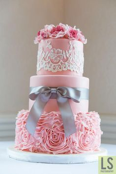 Pink Ruffles  by AngelsBakeShop - http://cakesdecor.com/cakes/205282-pink-ruffles