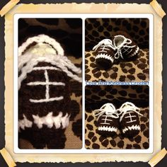 Football Booties - 0-3mo - Made to Order - $15 shipped - for other sizes please comment below and I will get back with you on the price