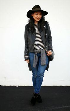 women fashion, leather fashion, fallwint style, fashion brand, stripe, person style