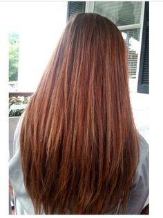 Auburn and Carmel highlights on natural brunette hair.