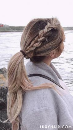 Elanna Pecherle looking fab in her Seamless Blonde Balayage Luxy Hair extensions styled in a dutch-pony xx prettybraidedhairstyles Pretty Braided Hairstyles, Flat Twist Hairstyles, Cute Simple Hairstyles, Easy Hairstyles, Straight Hairstyles, Braided Updo, Everyday Hairstyles, Cute Blonde Hairstyles, Southern Hairstyles