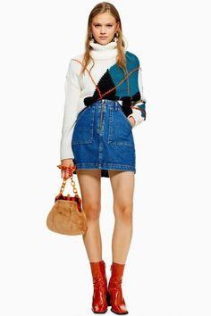 Utility Zip Up Denim Skirt - Skirts - Clothing - Topshop Big Fashion, Denim Fashion, Fashion Brands, Womens Fashion, Fashion Hats, Fashion Spring, Fashion Sandals, Fashion Edgy, Fashion Black