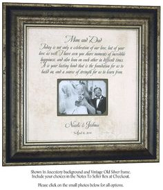 Wedding Gifts for Parents Mother of the by PhotoFrameOriginals