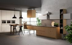Biefbi Cucine_Cortina: Natural Knotted Oak Base Units and White Lacquered Wall & Tall Units / Basi in Rovere Naturale Nodato, Pensili e Armadi Laccati Bianco.