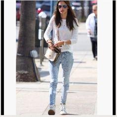 "J Brand skinnies Super stylish J Brand jeans. Light wash w design. Skinny leg fit, mid-rise, 11"" opening. J Brand Jeans"