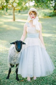 This gorgeous bridal shoot was inspired by none other than Little Bo Peep, and of course her darling sheep are included. The soft color palette and vintage decor create a stunning combination that will leave you wanting more. Bridal Session, Bridal Shoot, Wedding Shoot, Lamb Costume, Toy Story Costumes, Unique Weddings, Dame, Flower Girl Dresses, Flower Girls