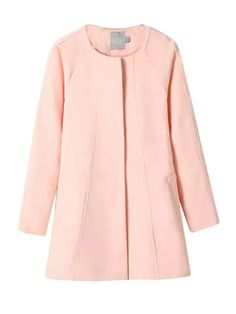 Ladies Round Neck Long Sleeve Solid Parka Coats For Women