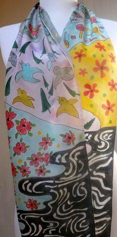 Japanese design silk Scarf Accessory Hand painted from Designer/artist #Silkworth ETSY USA!