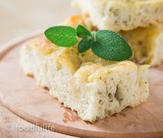 Sage Focaccia made with the traditional Genoese method. See the tutorial on foodfulife.com