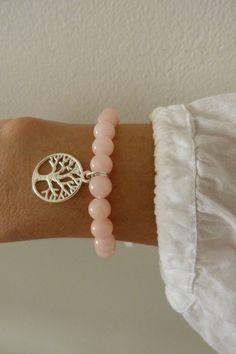 pink tree of life bracelet  pink mountain jade by beachcombershop