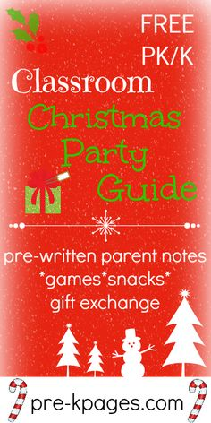 Free Printable Classroom Christmas Party Guide for Preschool, Kindergarten, First Grade