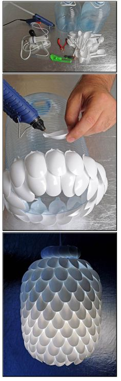 Plastic spoon lamp. Fun project for kids.