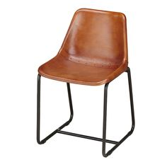 Steel legs in black paint finishClassic school style mould formed plastic chair, coated in leather.Part of our Urban Vintage range.