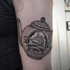 Smoky Teapot Tattoo Design. Tea only smells great when its hot. Here, I have a teapot tattoo design with hot tea in it.