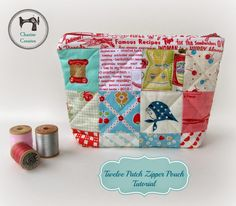 """I made this twelve patch pouch a few months ago, inspired to use up a mini charm pack of 2 1/2"""" squares.  One can never have too many p..."""