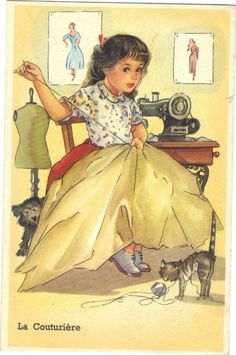 Child with Sewing Machine, Cat & Dog