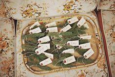 Woodland Winter: pine escort cards. #winterwedding