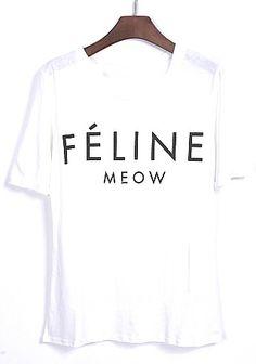 White Short Sleeve FELINE Print Loose T-Shirt