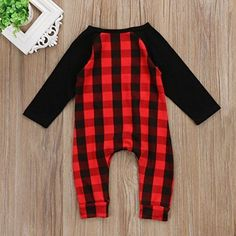 8f58c6bcc7f4 Baby Boy Girl Print Xmas Plaid Romper Long Sleeve Christmas Jumpsuit  Bodysuit Co