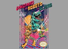 Dinosaurs Vs Robots Vs Aliens T-Shirt… Aliens, New T Shirt Design, Alien Design, Famous Art, Geek Gifts, Game Art, New Art, Funny Tshirts, Cool Art