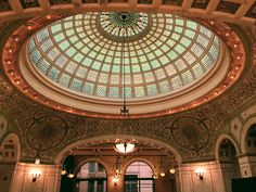 Gaze at the world's largest Tiffany stained-glass dome and more during free public tours on the history and architecture of the Chicago Cultural Center (completed in 1897 as Chicago's first central public library)