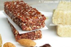 Homemade Lara Bars...several different recipes to try!  Great site - tons of recipes- low sugar, gluten, processed ingredients.    http://www.livingcrunchy.com/2012/04/homemade-lara-bars/