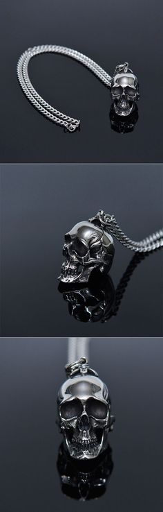 Full Steel Big Skull Long Chain-Necklace 300 by. Guylook.com      Full surgical steel skull & chain     Excellent craftsmanship & absolutely collectable