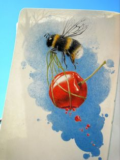 love the bee, change the cherry to a heart dripping with honey. :)
