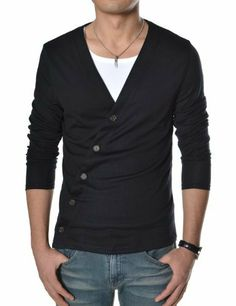 Industries Needs — TheLees Mens Slim Fit Unbalanced Button Knit...
